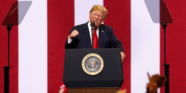 U.S. President Donald Trump speaks at a rally in support of Rep. Kevin Cramer's run for Senate in Fargo, North Dakota on June 27, 2018.