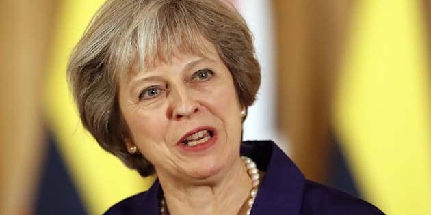 Prime Minister Theresa May during a media statement at 10 Downing Street in London.