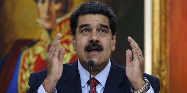 Venezuelan President Nicolas Maduro gives a press conference at Miraflores presidential palace in Caracas on Jan. 25, 2019.