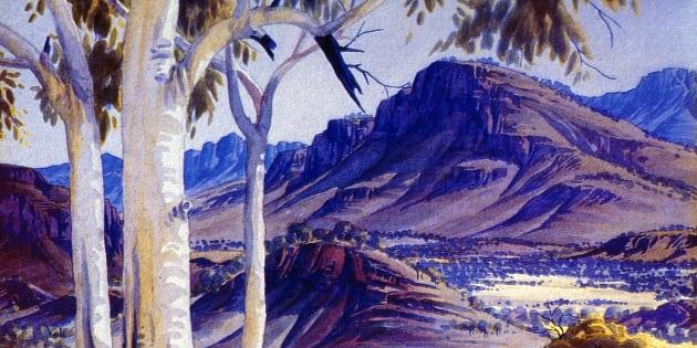 Albert Namatjira's painting : 'Blue Haze over James Range'.
