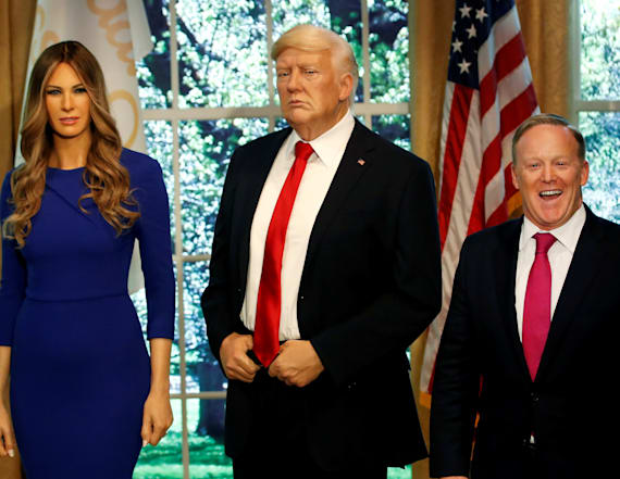 Spicer helps unveil Melania Trump's wax figure