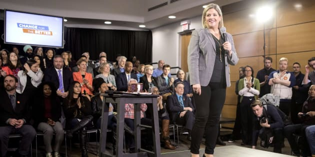 Ontario NDP Leader Andrea Horwath addresses supporters at a rally in Toronto on April 16, 2018.