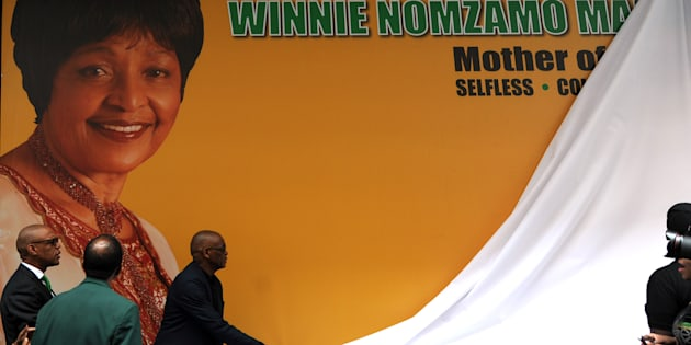A tribute wall in honour of Winnie Madikizela-Mandela is unveiled outside ANC headquarters at Luthuli House in Johannesburg, South Africa, on April 9 2018.