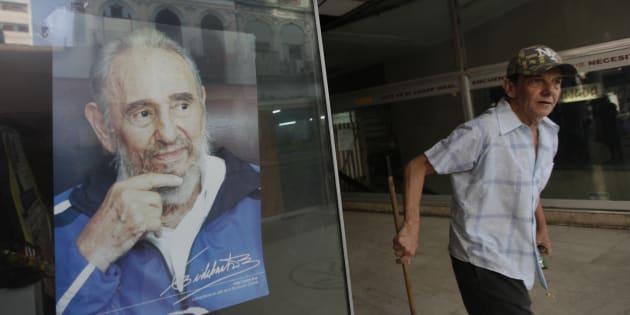 Une photo de Fidel Castro dans un magasin de Cuba, en juin 2014. REUTERS/Enrique De La Osa