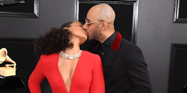 Grammys host Alicia Keys and her husband Swizz Beatz arrive at the ceremony on Sunday night.