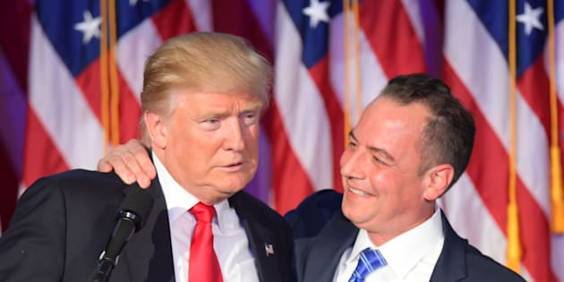 Chairman of the Republican National Committee (RNC) Reince Priebus (R) hugs Republican presidential elect Donald Trump during election night at the New York Hilton Midtown in New York on November 9, 2016.  / AFP / JIM WATSON        (Photo credit should read JIM WATSON/AFP/Getty Images)