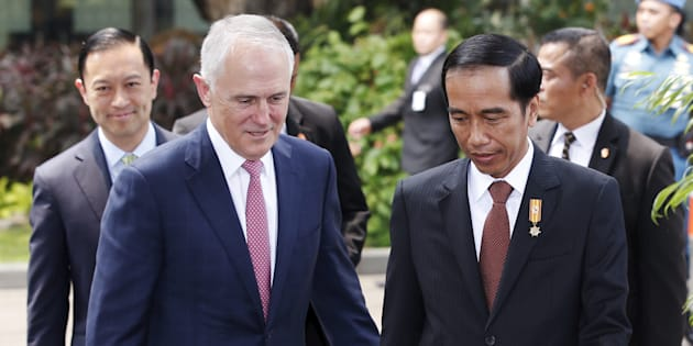 Malcolm Turnbull and Joko Widodo on a state visit in Indonesia in 2015.