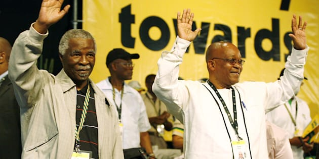 Jacob Zuma (right) and Thabo Mbeki at the ANC's National Conference at Polokwane in 2007, where Zuma defeated Mbeki for the party leadership. Mbeki was eventually removed as head of state .