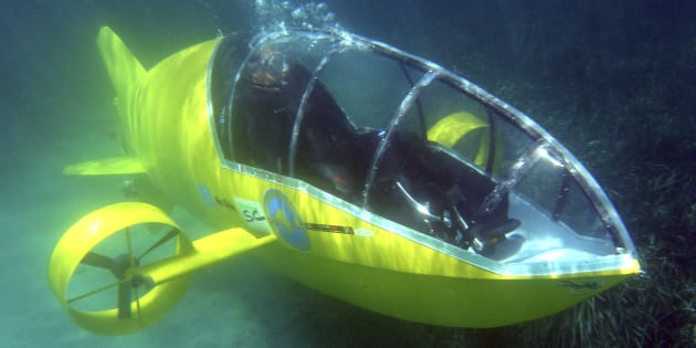 Stephane Rousson, chief designer of the Scubster submarine, a pedal-powered personal wet sub, is seen underwater during testing in Villefranche sur Mer, southeastern France, July 28 2010.