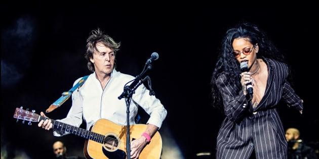 Paul McCartney and Rihanna at Desert Trip music festival, Oct. 15, 2016.