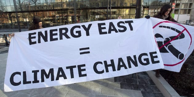 A protest sign put up by Stop Energy East Halifax outside the library in Halifax, Monday, Jan. 26, 2015. TransCanada has cancelled the Energy East pipeline, a move hailed by climate groups.