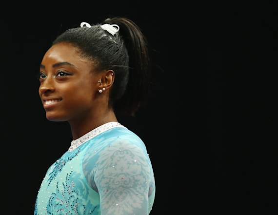 Biles wears teal in show of support for survivors