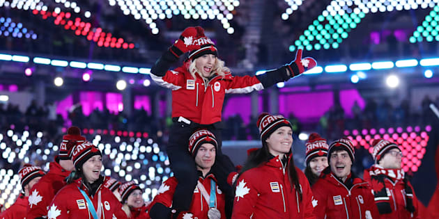 Team Canada walks in to the closing ceremony at the PyeongChang Olympics.