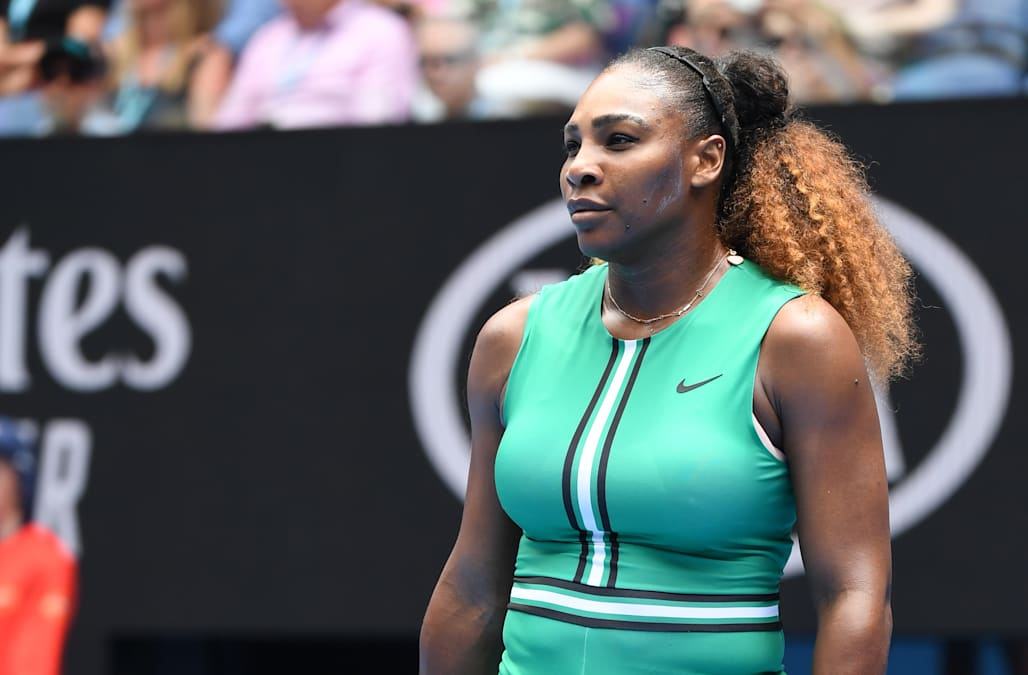 968aaeadd2a Serena Williams earns raves for wearing green bodysuit and fishnets on the  tennis court