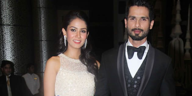 Shahid Kapoor with his wife Mira Rajput during his wedding reception at Palladium, Lower Parel, on July 12, 2015 in Mumbai, India.