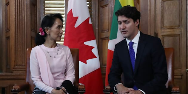 Myanmar State Counsellor Aung San Suu Kyi meets with Prime Minister Justin Trudeau in Ottawa on June 7, 2017.