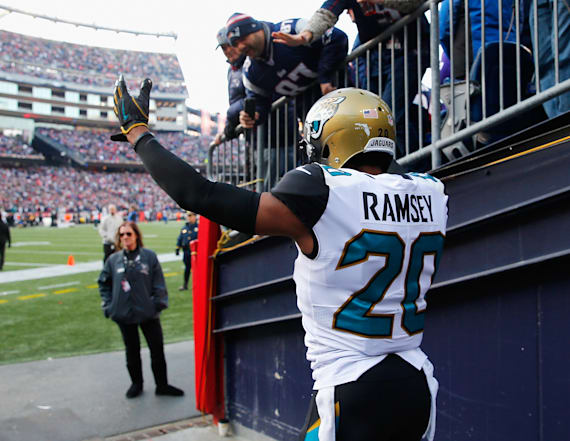 Brady, Jalen Ramsey exchange words during warm-ups
