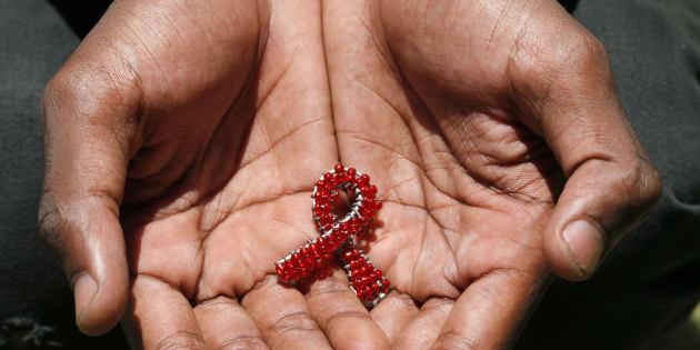 A hand made beaded AIDS symbol.
