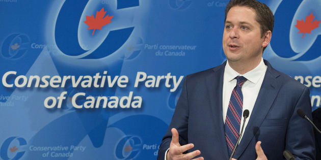 Conservative Leader Andrew Scheer speaks to reporters during a meeting of the General Council of the Conservative Party of Canada in Saint-Hyacinthe, Que., on May 13, 2018.