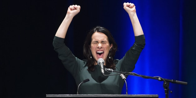 Valerie Plante speaks to supporters after being elected mayor of Montreal during the municipal election on Sunday.