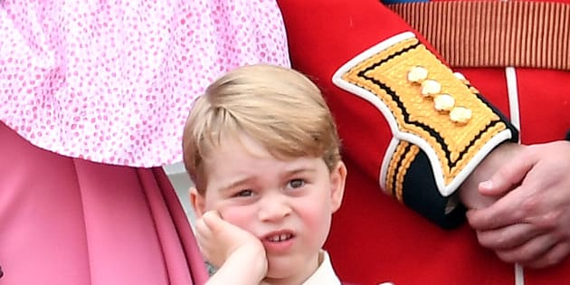 LONDON, ENGLAND - JUNE 17:  Prince George of Cambridge looks on from the balcony during the annual Trooping The Colour parade at the Mall on June 17, 2017 in London, England.  (Photo by Karwai Tang/WireImage)
