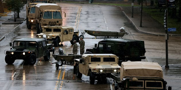 Members of the U.S. National Guard prepare for Hurricane Nate in New Orleans.