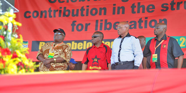 Happier days: President Jacob Zuma during Cosatu's  Workers' Day rally at the Botshabelo stadium in Botshabelo outside Bloemfontein, South Africa on May 1, 2012. (Photo by Gallo Images / Foto24 / Conrad Bornman)