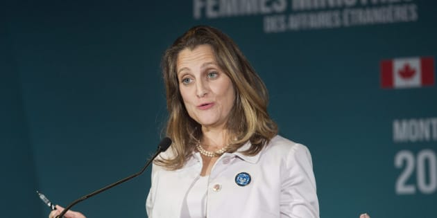 Foreign Affairs Minister Chrystia Freeland speaks at a news conference during a meeting of Women Foreign Ministers in Montreal on Sept. 22, 2018.