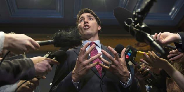 Justin Trudeau répond aux questions des journalistes après une conférence dans le cadre du B7 à Québec.