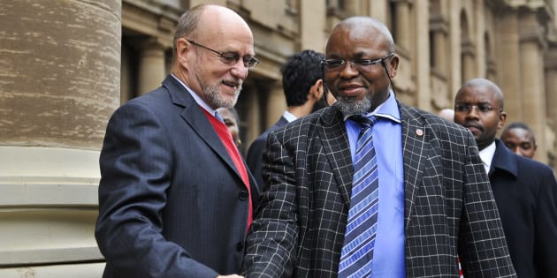 JOHANNESBURG, SOUTH AFRICA - APRIL 18: (SOUTH AFRICA OUT) Deputy Minister of Science and Technology Derek Hanekom and ANC Secretary General Gwede Mantashe outside the Johannesburg High Court on April 18, 2011 in Johannesburg, South Africa. NCYL President Julius Malema is appearing on charges of hate speech for singing the song 'Shoot The Boer' laid against him by Tshwane-based lobby group AfriForum.  (Photo by Foto24/Gallo Images/Getty Images)