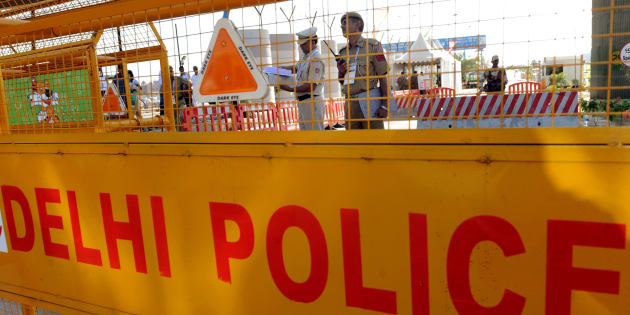 A police barrier in New Delhi, India.