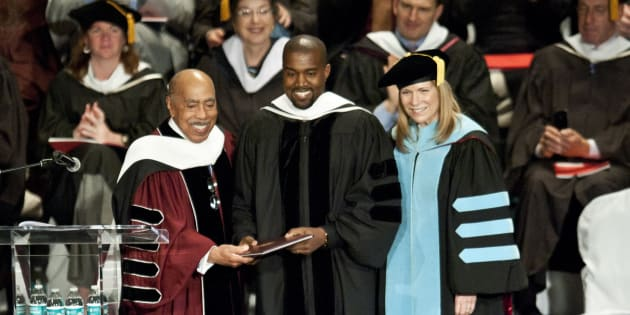 CHICAGO, IL - MAY 11:  Kanye West receives an honorary doctorate at the School Of Art Institute Of Chicago