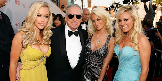 "Hugh Hefner arrives with ""Girls Next Door"" Kendra Wilkinson, Holly Madison and Bridget Marquardt at the 36th AFI Life Achievement Award tribute to Warren Beatty on June 11, 2008. (Frazer Harrison/Getty Images for AFI)"
