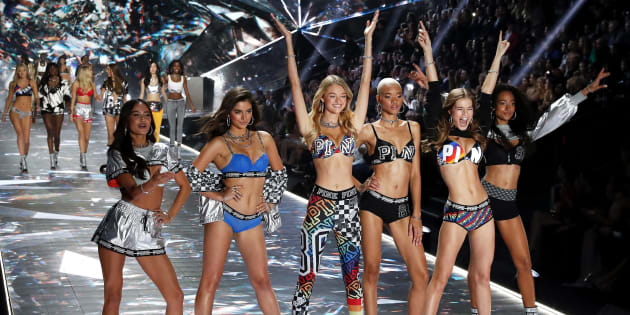 a31d8ef50830e Victoria s Secret Angels pose on the runway during the 2018 fashion show at  Pier 94 in