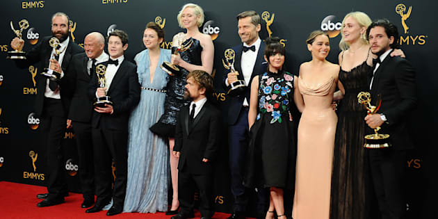 The 'Game of Thrones' cast poses in the press room after winning Best Drama Series the 68th annual Primetime Emmy Awards.  (Photo: Jason LaVeris/FilmMagic)