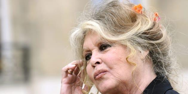 Brigitte Bardot à l'Elysée en septembre 2007 après une rencontre avec le président Nicolas Sarkozy