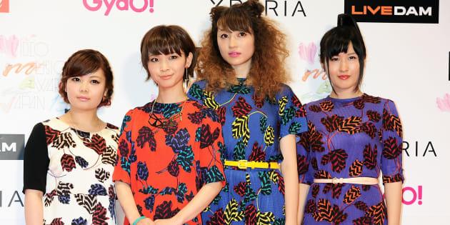 MTVが開催した「VMAJ2013」(ビデオミュージックアワード)のレッドカーペットに登場した女性4人組バンドの「ねごと」(千葉県千葉市の幕張メッセ) 撮影日:2013年06月22日