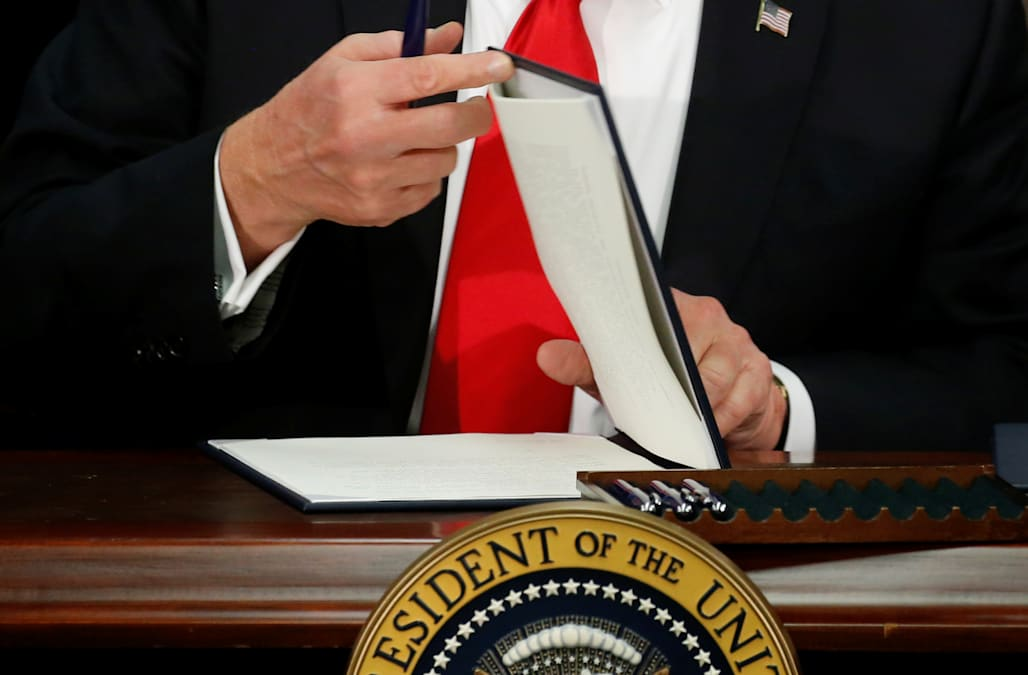 Hasil gambar untuk President Trump gathered Federal agency leaders to sign the One Federal Decision Memorandum of Understanding for infrastructure projects