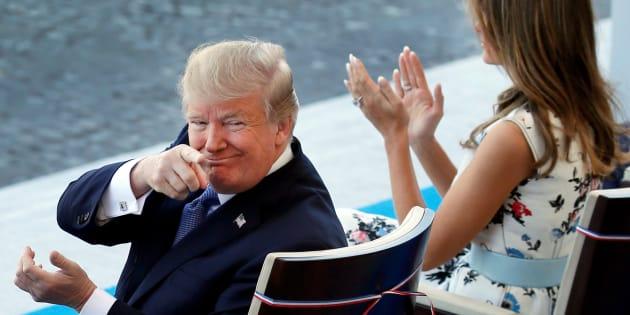 Donald et Melania Trump, lors du défilé du 14 juillet à Paris.