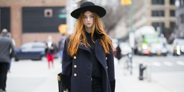 Model Stacey Grant at Skylight Clarkson Square during New York Fashion Week.