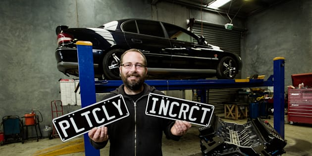 Ricky Muir with his Holden Calais 'PLTCLY INCRCT' at a workshop in Sale, Victoria. He built the vehicle for burnouts, and is participating in the Bairnsdale Burnout Competition.