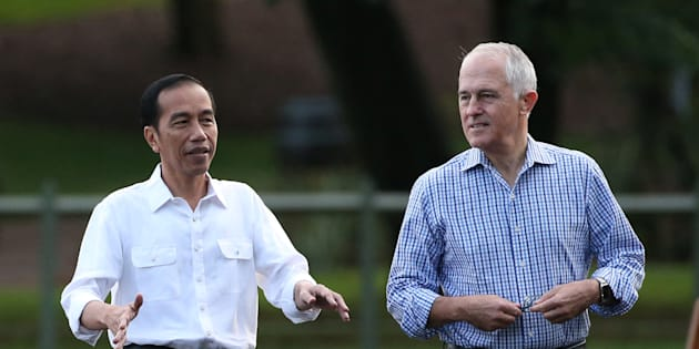 Turnbull and Widodo took a stroll on Sunday morning.