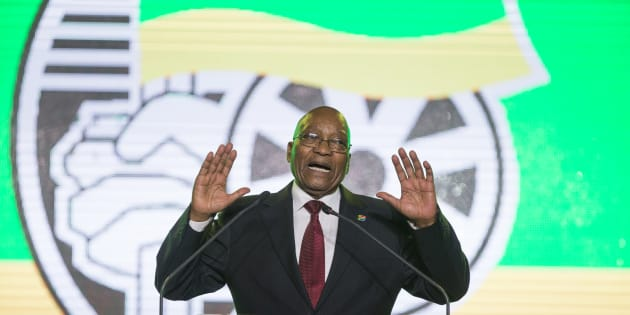 President Jacob Zuma at the ANC's gala dinner at the Nasrec Expo Centre in Johannesburg on December 15, 2017.