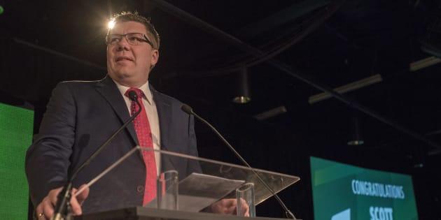 Newly-elected Saskatchewan Party Leader and Saskatchewan Premier, Scott Moe, speaks during the Saskatchewan Party Leadership Convention in Saskatoon on Saturday.
