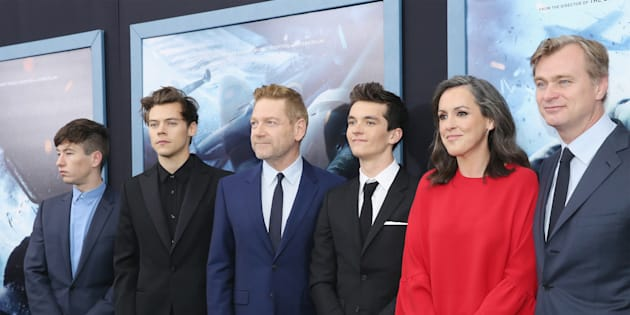 (L-R) Actors Barry Keoghan, Harry Styles, Kenneth Branagh, Fionn Whitehead, producer Emma Thomas and director/writer Christopher Nolan attend the 'DUNKIRK' New York Premiere on July 18, 2017 in New York City.  (Photo by Mireya Acierto/FilmMagic)
