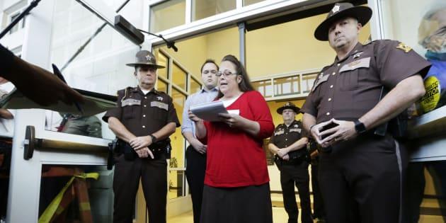 Kim Davis devant le tribunal du comté de Rowan à Morehead (Kentucky) le 14 septembre 2015.