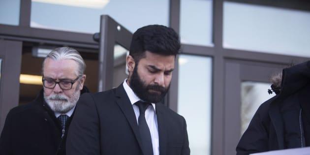Jaskirat Singh Sidhu leaves provincial court in Melfort, Sask., Jan., 8, 2019.
