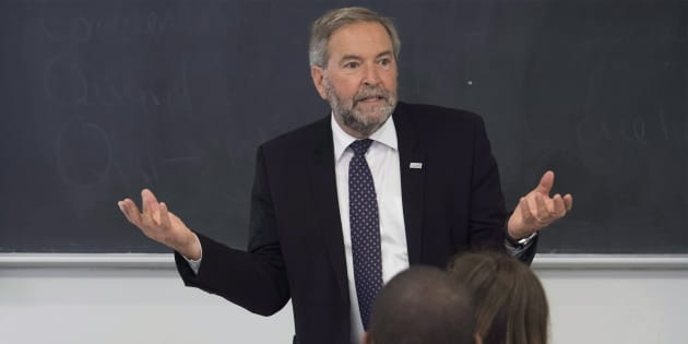 Former NDP leader Tom Mulcair teaches a class at the University of Montreal on Sept. 5, 2018.