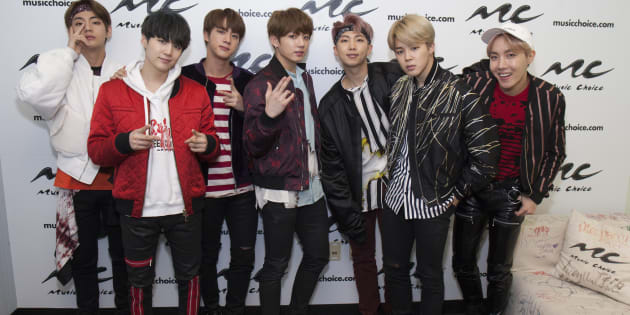 Jin, Suga, J-Hope, Rap Monster, Jimin, V and JungKook of the South Korean boy band 'BTS' visit Music Choice on March 22, 2017 in New York City.