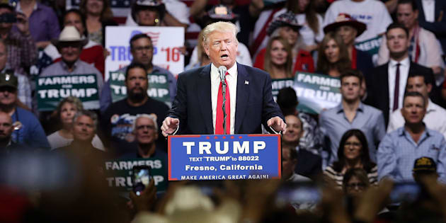FRESNO, CA - MAY 27:  Presumptive Republican presidential candidate Donald Trump speaks at a rally in Fresno on May 27, 2016 in Fresno, California.  Trump is on a Western campaign trip which saw stops in North Dakota and Montana yesterday and two more in California today.  (Photo by Spencer Platt/Getty Images)